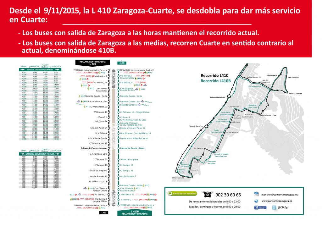 L410 Cuarte - Zaragoza, se desdobla desde el lunes 9 de noviembre ...